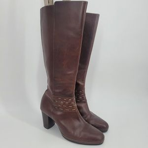 Clarks Artisan Brown Leather Heeled Boots Sz 8